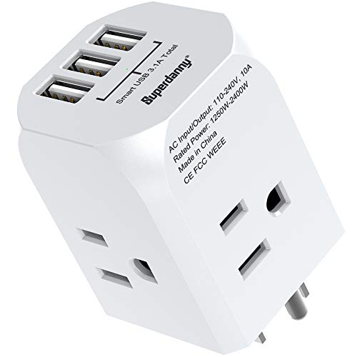 Multi-Plug Outlet Extender SUPERDANNY Power Adapter with 4 Electrical Outlets & 3 USB Ports Extra-Wide Spaced Cube Charger Cruise Ship Approved Wall Plug Splitter for Home Office Dorm Hotel White