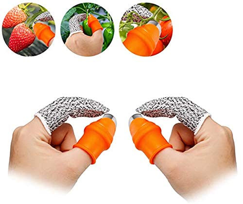 ReLuien 4PCS Silicone Thumb Knife, Good Helper for Kitchen Silicone Thumb Knife Separator Vegetable Picker for Finger Cutting with Cut-Proof Finger Knife Cots Kit, Gardening Harvesting Fruit Tools
