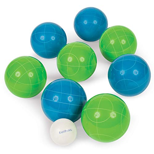 EastPoint Sports Resin Bocce Ball Set - Features Deluxe Carry Case - Includes 8 Bocce Balls in 2 Team Colors, 1 Palino, and 1 Measuring Tape, Backyard Set