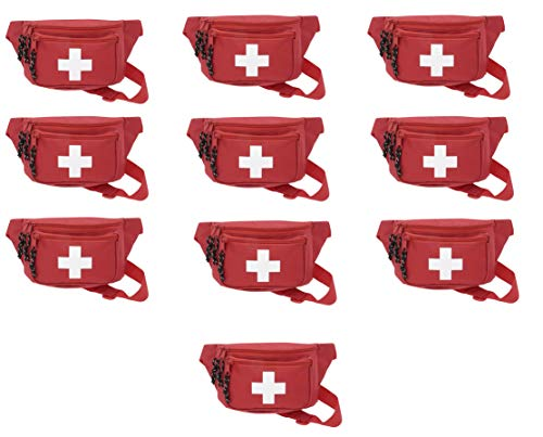 10pk AsaTechmed First Aid Waist Pack - Baywatch Lifeguard Fanny Pack - Compact for Emergency at Home, Car, Outdoors, Hiking, Playground, Pool, Camping, Workplace