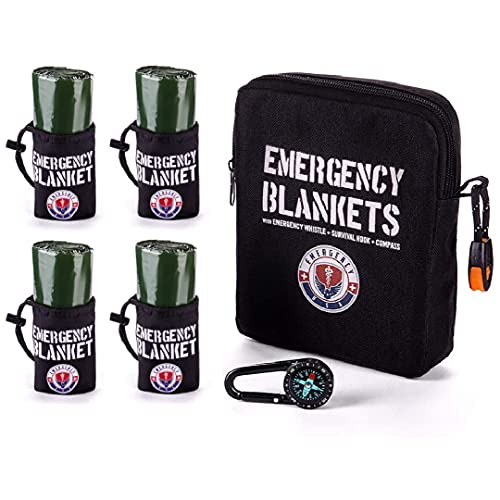 Emergency Blanket Survival Kit - 4 Mylar Reflective Thermal Blankets, Compass, Emergency Whistle - Perfect Addition to First Aid Supplies, and Bug Out Survival Gear
