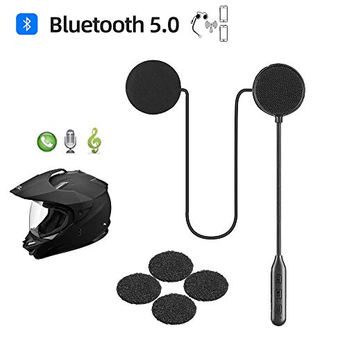 Motorcycle Helmet Bluetooth Headset,Bluetooth 5.0,Waterproof Motorcycle Sports Headset,Speakers Hands Free,Music Call Control,Automatic answering,30 Hours Playing time High Sound Quality System