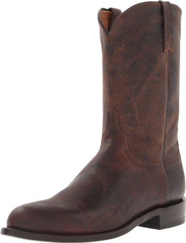 Lucchese Bootmaker Men's Shane-Chocolate Madras Goat Roper Riding Boot, 10.5 D US