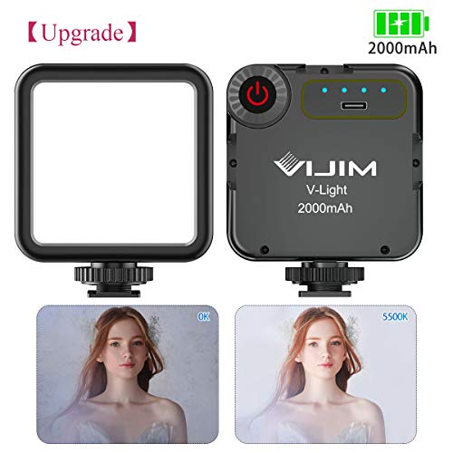 Upgraded Soft Video Light, VIJIM V-Light Pocket LED Video Lighting CRI95+ 2000mAh Rechargeable on Camera Panel Vlog for GoPro 8 7 6 5 DJI OSMO Mobile 3 Pocket Sony RX100 VII a6400 Canon G7X Mark III