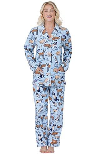 PajamaGram Flannel Pajamas Women Soft - Women's Flannel Pajamas, Blue, M, 8-10
