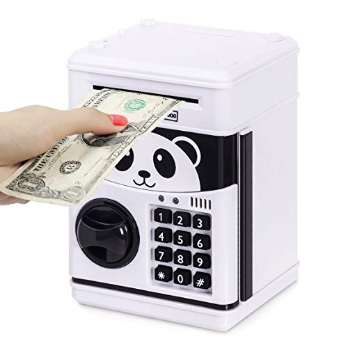 Refasy Piggy Banks for Kids 2-4 Year Old,Mini ATM Electronic Coin Bank for Children Great Xmas Birthday Gifts for Girl Money Bank Mini ATM Piggy Bank for Kid Age 5-13 Money Savings Box Toys White