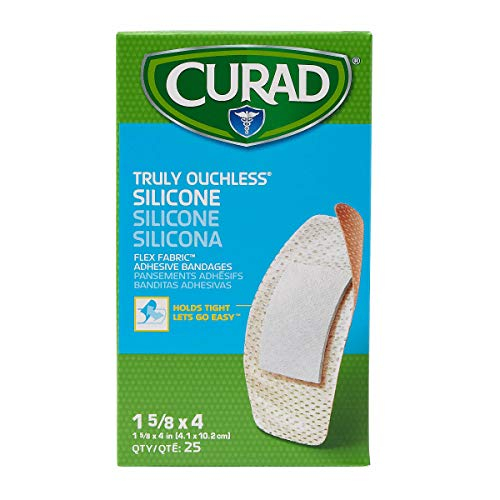 Curad - NON76100Z CURAD Truly Ouchless Silicone Adhesive Bandages, Fabric Bandages, 1.6'x4', for Delicate,Sensitive Skin, 25 Count