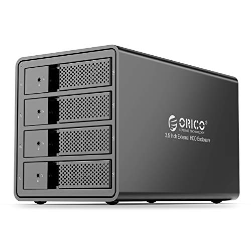 ORICO 4 Bay USB 3.0 to SATA 3.5 inch External Hard Drive Enclosure Support 64TB (4 x 16TB) Aluminum Alloy HDD Enclosure with Fan / 150W / UASP Disk Data Storage