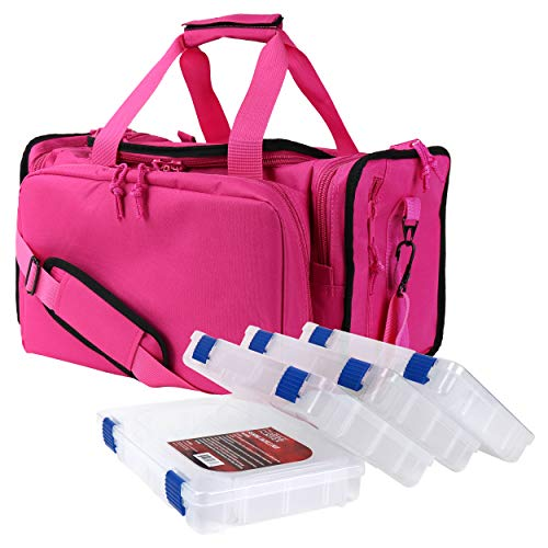 OSAGE RIVER Deluxe Tackle Bag with 4 Tackle Box Organizers, Heavy Duty Fishing Tackle Storage, Pink