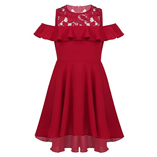 iiniim Big Girls Cold Shoulder Ruffle Dress Formal Wedding Bridesmaid Party Prom High Low Dress Burgundy 8