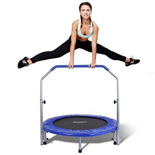 SereneLife Portable & Foldable Trampoline - 40' in-Home Mini Rebounder with Adjustable Handrail, Fitness Body Exercise - SLSPT409, Blue