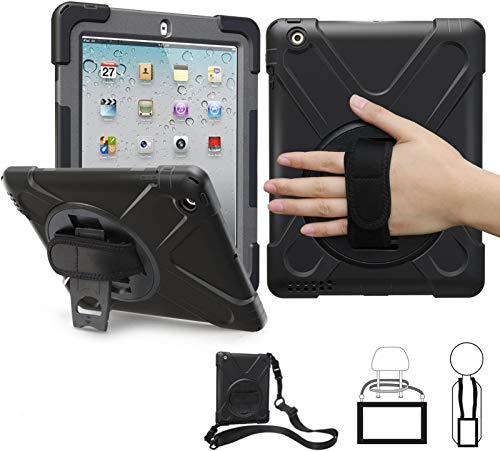 iPad 2/3/4 Case 9.7 Inch iPad 2 Case for Kids | TSQ iPad 3rd Case Heavy Duty Rugged | iPad 4 Case Shockproof Durable w/ Stand Hand Grip Shoulder Strap for iPad 2nd/3rd/4th Generation Case Cover, Black