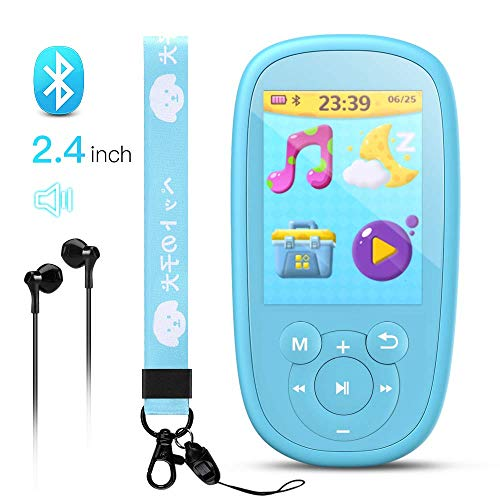 AGPTEK MP3 Player for Kids, Children Music Player with Bluetooth, Built-in Speaker 8GB, 2.4 Inch Color Screen, Support FM Radio, Video, Voice Recorder, Expandable Up to 128GB,Blue