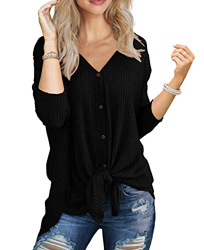 IWOLLENCE Womens Loose Henley Blouse Bat Wing Long Sleeve Button Down T Shirts Tie Front Knot Tops Black Large
