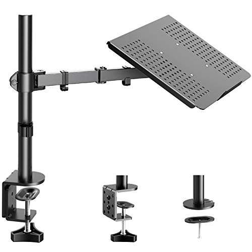 HUANUO Laptop/ Notebook Desk Mount Stand - Height Adjustable Single Arm Mount with C Clamp, VESA 75X75 and 100X100 for Monitor 15-32 inch