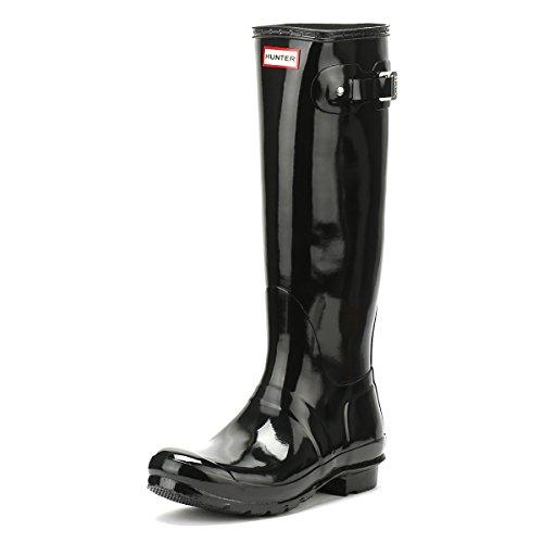 Hunters Boots Women's Original Tall Gloss Boots, Black, 9 Medium US