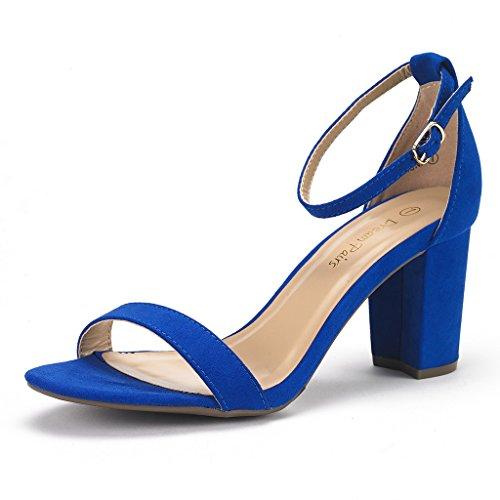 DREAM PAIRS Women's Chunk Royal Blue Low Heel Pump Sandals - 9 M US