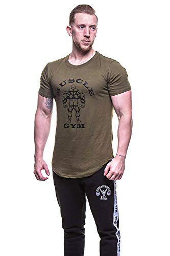 MUSCLE GYM Mens T-Shirt Top, Stringers Bodybuilding T-Shirts Muscle Fit (Large, MG Khaki TEE)