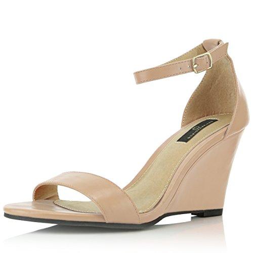 DailyShoes Women's High Wedges Sandal Ankle Strap Open Toe Wedge Fashion Shoes Walda-01 Beige Pu 10