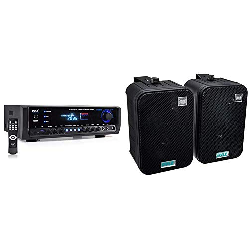 Wireless Bluetooth Power Amplifier System 300W 4 Channel Home Theater Audio Stereo Sound Receiver Box Entertainment w/USB, RCA, Black & Dual Waterproof Outdoor Speaker System (Black)