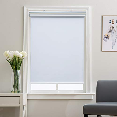 Roller Shade Blackout Shades Window Blinds for Bedroom, Black Out 99% Light & UV, Thermal, Cordless and Easy to Pull Down & Up, White, 31' W x 72' H