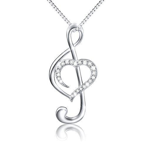 (Musical Note Necklace Pendant) 925 Sterling Silver CZ Jewelry for Women, Box Chain 18'