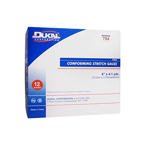 Dynarex-76250 Conforming Stretch Gauze Bandage, Sterile, 4' x 4.1 Yards., 12 Rolls,White