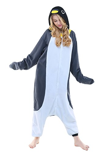 NEWCOSPLAY Adult Unisex Penguin Onesie Pajama Costume (XL, Grey Penguin)