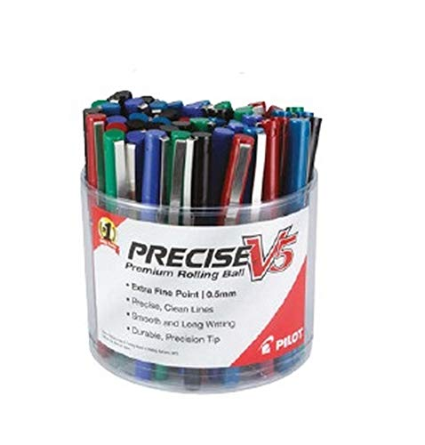 Pilot Precise V5 Stick Liquid Ink Rolling Ball Pens Display Tub, Extra Fine Point, Assorted Ink, 48 Pens (13057)