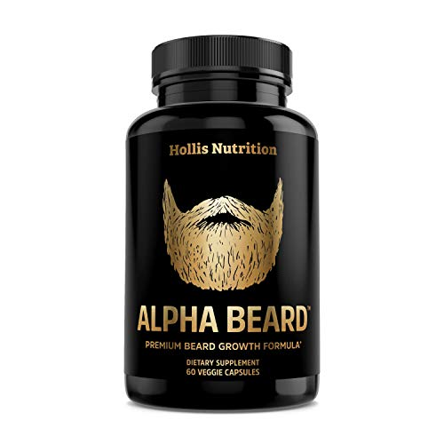 Alpha Beard Growth Vitamins | Biotin 10,000mcg, Patented OptiMSM, goMCT, Collagen | Beard Growth Supplement for Men | for All Hair Types | Grow Fuller, Thicker, Healthier Facial Hair - 60 Capsules