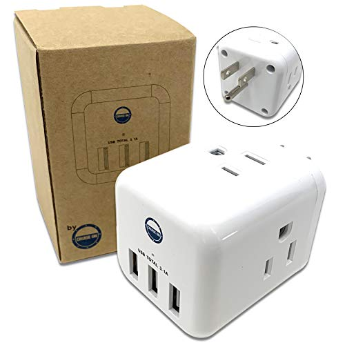 Power Cube Outlet Extender - Multi Plug [3 Electrical Outlet + 3 USB Port] Wall Charger Power Strip for Extra Travel, Cruise, Home Charging Outlets
