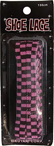 Hot Pink & Black Checkers - 51' Long - Pair of Shoelaces