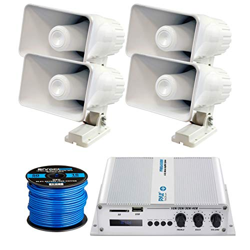 4 X Pyle 6' 200 Watt Indoor/Outdoor Waterproof Home PA Horn Speakers with Pyle Elite Series Marine Bluetooth 4-Channel 400 Watt Amplifier and Enrock Marine-Grade 50 Foot 16-Gauge Speaker Wire