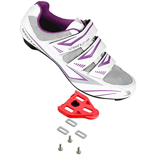 Venzo Bike Bicycle Women's Ladies Cycling Riding Shoes - Compatible with Peloton Shimano SPD & Look ARC Delta - Perfect for Indoor Spin Road Racing Indoor Exercise Bikes - with Delta Cleats 37