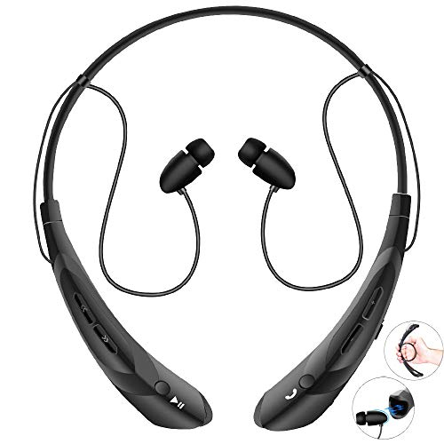 Bluetooth Neckband Headphones with Magnetic Earbuds, Flexible Wireless Bluetooth Headset with Mic Sports Headphones for Running HD Stereo Noise Cancelling Earphones for iPhone Samsung LG(Black)