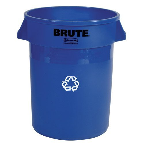 Rubbermaid Commercial FG263273BLUE Products Brute Recycling Container with Venting Channels, Blue, 32 gal Capacity