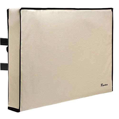 Outdoor TV Cover 52'-55' inch - Universal Weatherproof Protector for Flat Screen TVs - Fits Most TV Mounts and Stands - Beige