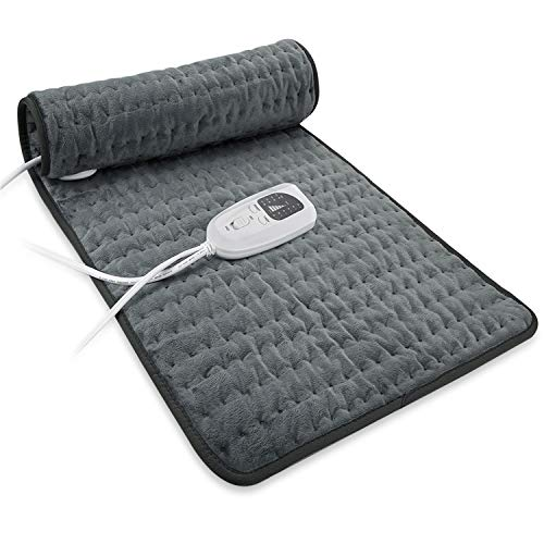 Dekugaa Heating Pad, Electric Heating Pad for Moist & Dry Heat, 6 Electric Temperature Options, 4 Temperature Settings-Auto Shut Off -King Size 12' x 24'-Hot Heated Pad (Blackish)