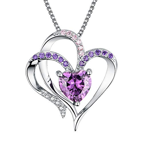 Heart Necklace 14K White Gold Plated 5A Purple Heart Cubic Zirconia Womens Pendant Necklace