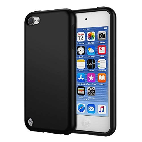 KELIFANG Case Compatible with iPod Touch 7, 6 and 5, Ultra Slim Full Body Protective Case with Dual Layer Shockproof TPU Bumper Hard Back Cover Compatible with 7th/6th/5th Generation, Black