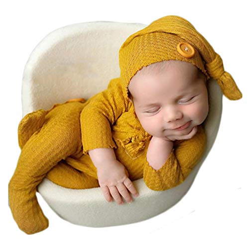Fashion Newborn Boys Girls Baby Photo Shoot Props Outfits Crochet Clothes Long Tail Hat Romper Photography Props (turmeric)