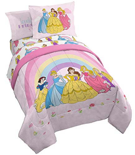 Jay Franco Disney Princess Rainbow 5 Piece Twin Bed Set - Includes Comforter & Sheet Set - Bedding Features Aurora, Belle, Cinderella - Super Soft Fade Resistant Microfiber (Official Disney Product)