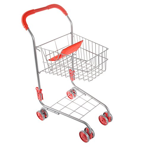 Pretend Play Shopping Cart- Toy Grocery Cart With Pivoting Front Wheels and Folds for Easy Storage for Kids, Boys and Girls By Hey! Play!