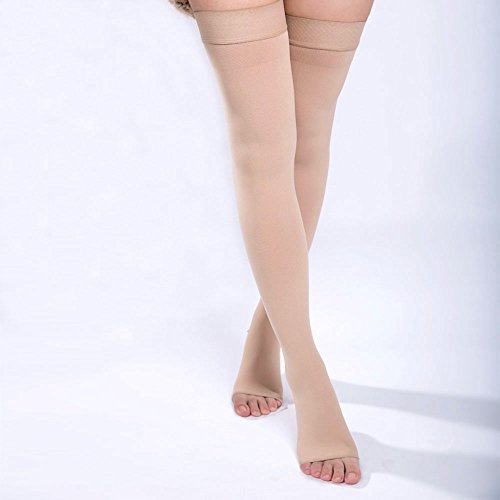 DOTASI 23-32mmhg Compression Thigh High Open-toe Socks Graduated Support Prevent Varicose Veins Stocking Silicone Anti-slip (L)