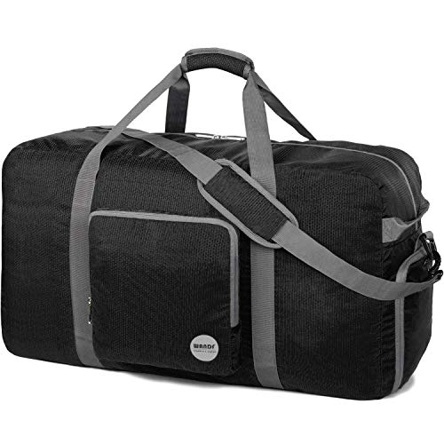 WANDF 36' Foldable Duffle Bag 120L for Travel Gym Sports Lightweight Luggage Duffel 10 Color Choices (Black, 36 inches (120L))