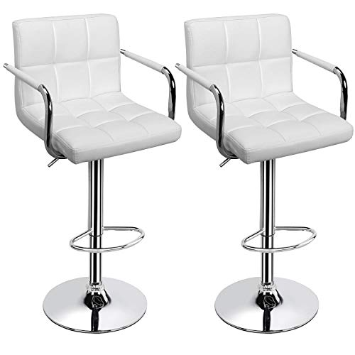 Topeakmart 2pcs Adjustable Bar Stools Breakfast Barstool with Back and Arms Leather Swivel Barstool Chairs w/Gas Lift for Home/Kitchen/Office/Bar Use,White