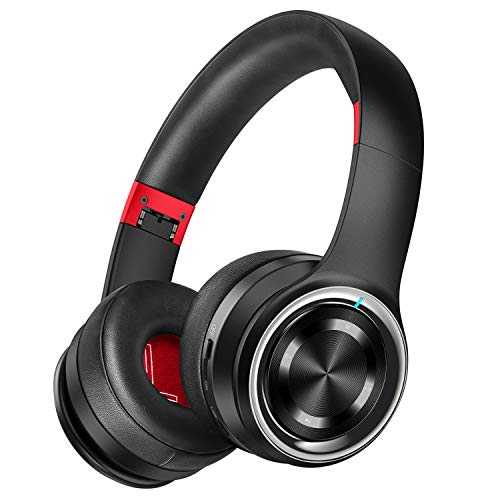 Picun P26 Bluetooth Headphones Over Ear 80H Playtime Hi-Fi Stereo Wireless Headphones Deep Bass Foldable Wired/Wireless/TF for Cell Phone/PC Bluetooth 5.0 Wireless Headset with Mic (Black Red)
