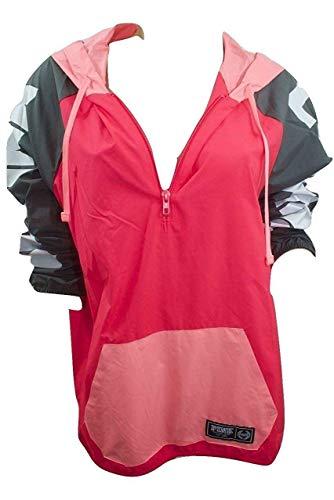Pink Anorak Windbreaker Jacket Colorblock Half Zip Multi Color Med/Large NWT