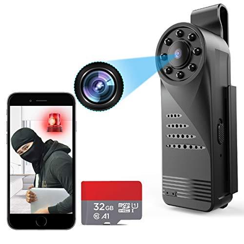 WiFi Indoor Outdoor Camera Mini Wireless Home Security Battery Powered Camera WiFi Body Camera Small Car Cam Nanny/Pet/Kids/Staff Smart Phone Camera