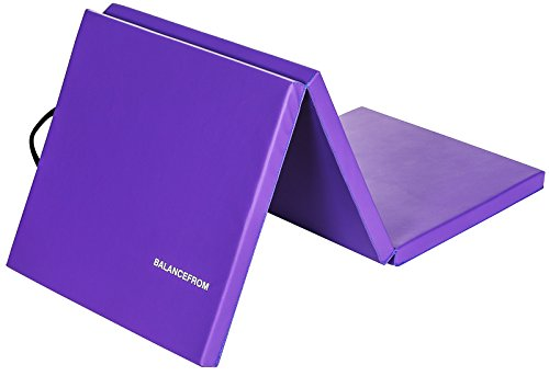 BalanceFrom 2' Thick Tri-Fold Folding Exercise Mat with Carrying Handles for MMA, Gymnastics and Home Gym Protective Flooring (Purple)